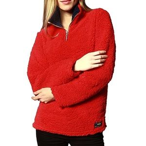 Sweaters - Womens 1/4 Zip Fleece Sherpa Pullover